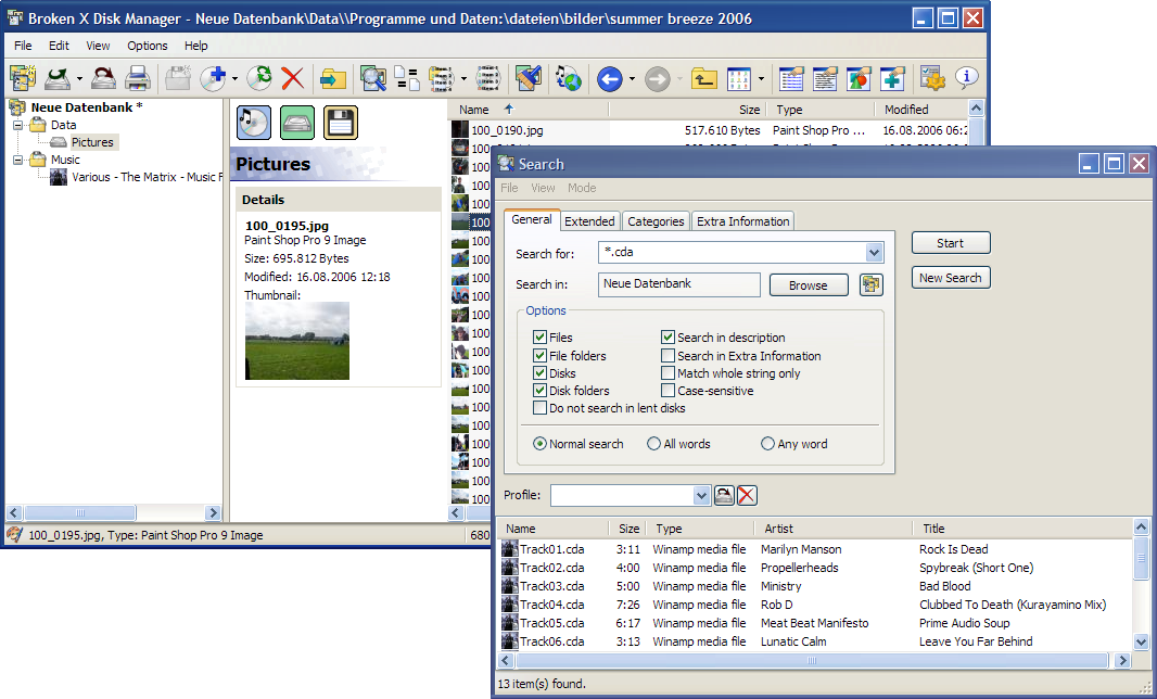 Click to view Broken X Disk Manager screenshots